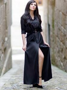 Black Informal Long Sleeve Split Maxi Dress