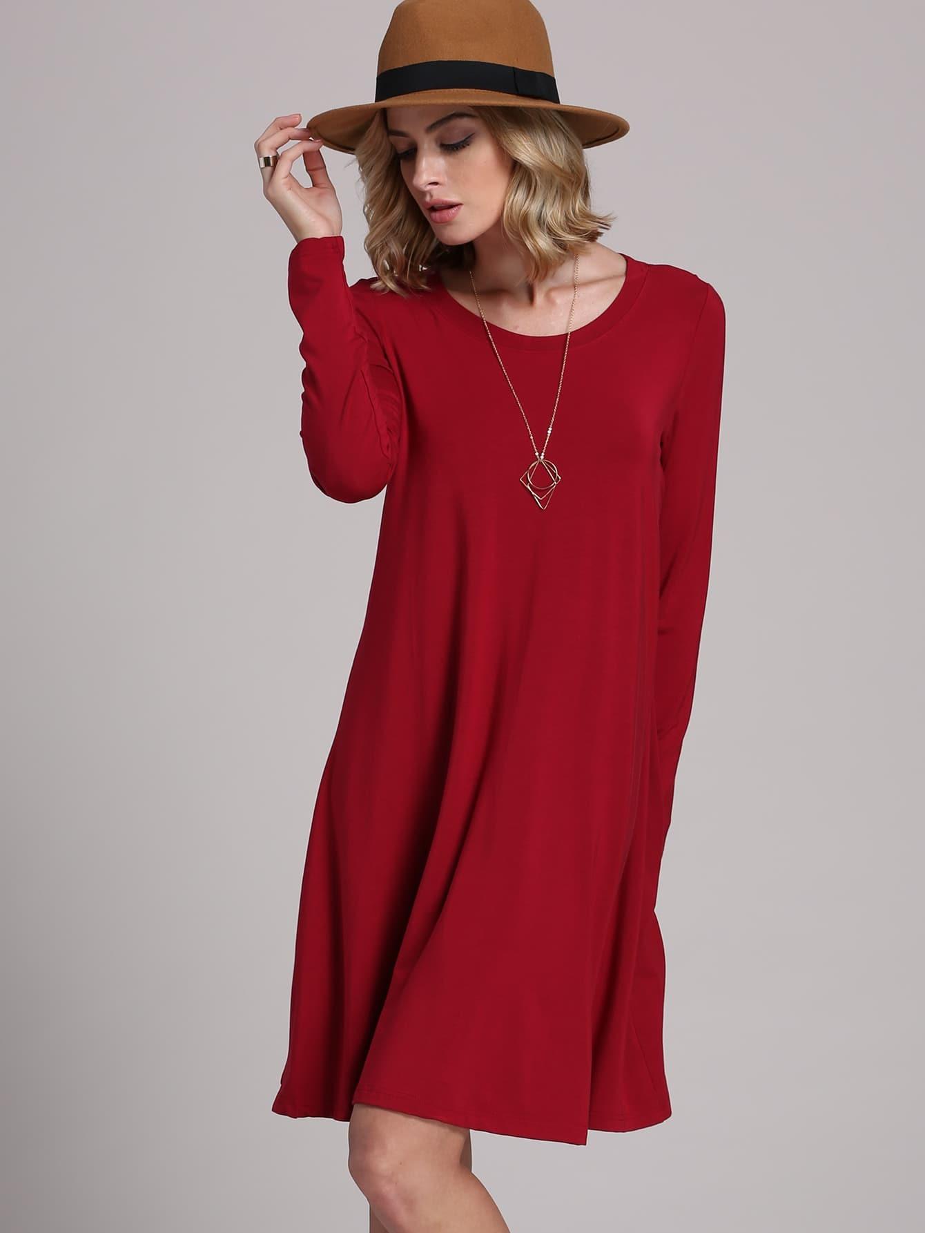 Купить Бордовое платье в стиле Кэжуал, Masha, SheIn