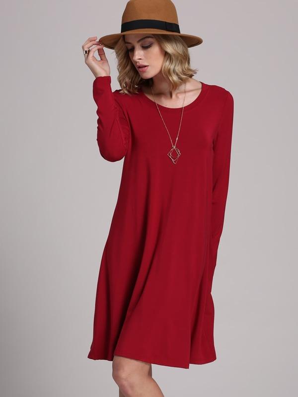 Robe rouge bordeaux manches longues