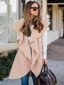 Apricot Sleeveless Lapel Vest