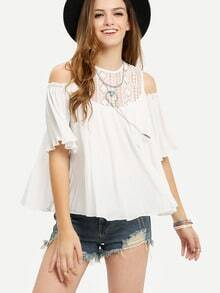 Open Shoulder Lace Neck Pleated Blouse - White