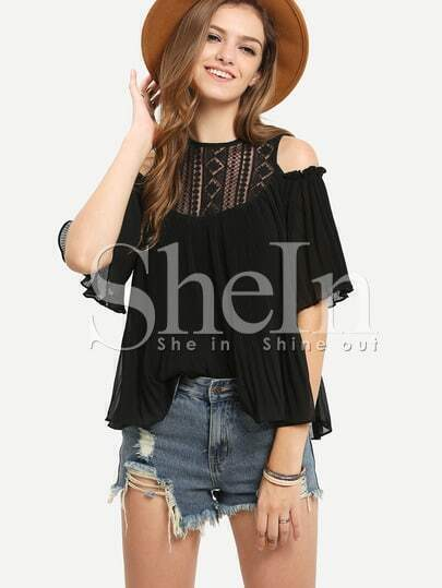 Open Shoulder Lace Neck Pleated Blouse - Black