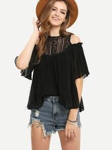 Open Shoulder Lace Neck Pleated Blouse - Black
