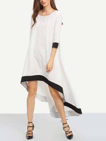 White Round Neck Contrast Trims High Low Dress