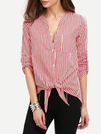 Red V Neck Vertical Striped Blouse