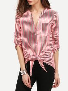 Red V Neck Vertical Striped Blouse