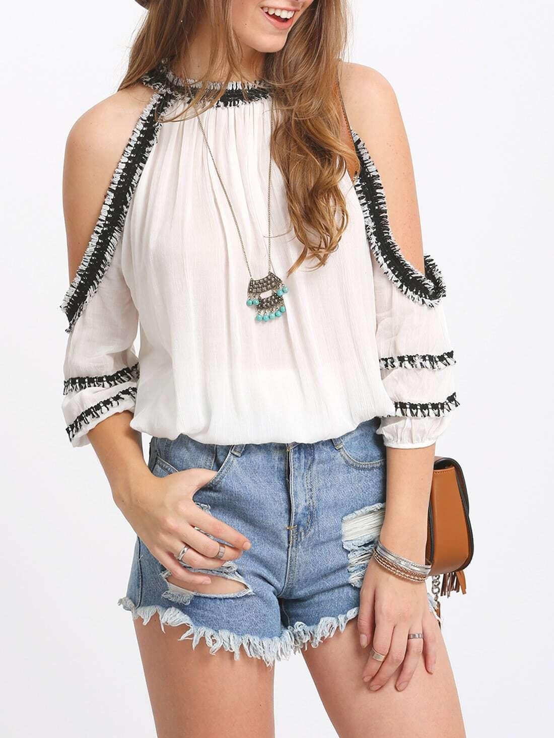 Crochet Trim Cold Shoulder Blouse white cold shoulder asymmetricalâblouse