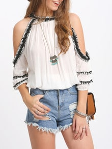 White Crochet Trim Cold Shoulder Blouse