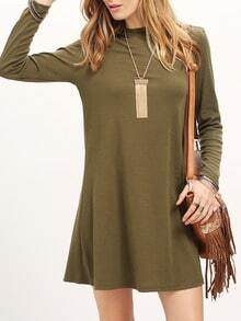 Green Crew Neck Ribbed Shift Dress