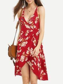 Red Deep V Neck Florals Wrap Dress
