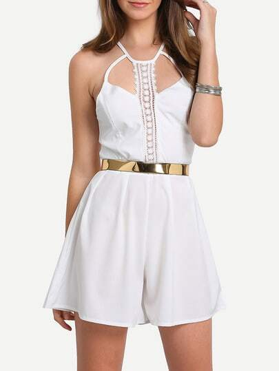 White Spaghetti Strap Lace Hollow Jumpsuit