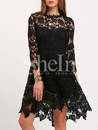 Black Crew Neck Lace Pouf Dress