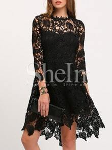Black Crew Neck Lace Pouf Dress