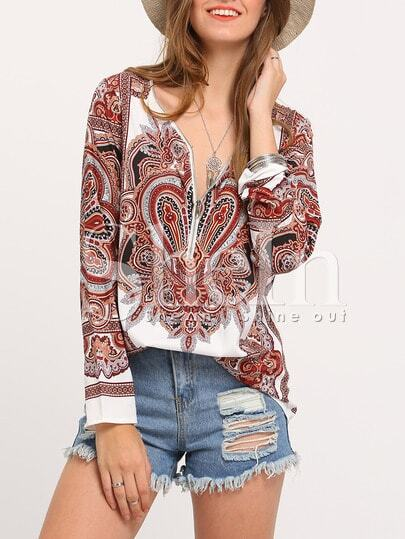 Multicolor Long Sleeve Vintage Retro Print Blouse