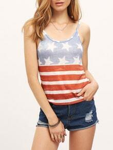Stars And Stripes Print Cami Top
