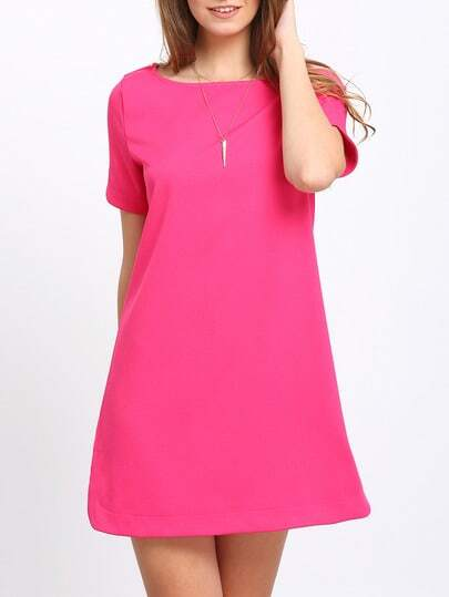 Rose Red Dolphin Hem Zipper Back Shift Dress
