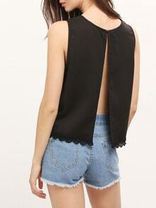 Black Round Neck Scallaped Hem Open Back Blouse