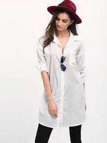 White Lapel Long Sleeve Pocket Casual Blouse
