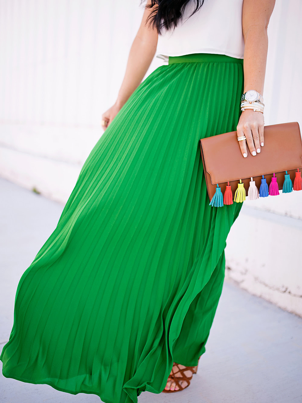 Green High Waist Pleated Maxi Skirt -SheIn(Sheinside)