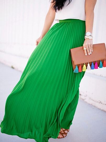 High Waist Pleated Longline Skirt