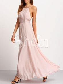 Pink Spagettic Strap Crisscross Back Maxi Dress