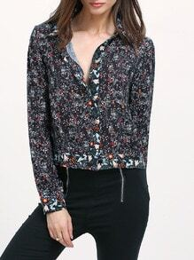 Black Lapel Floral Print Blouse