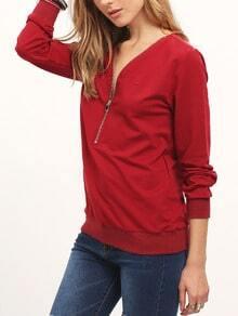 Burgundy Zipper V Neck T-Shirt