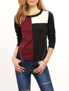 Color Block Zipper Front Side Slit T-shirt