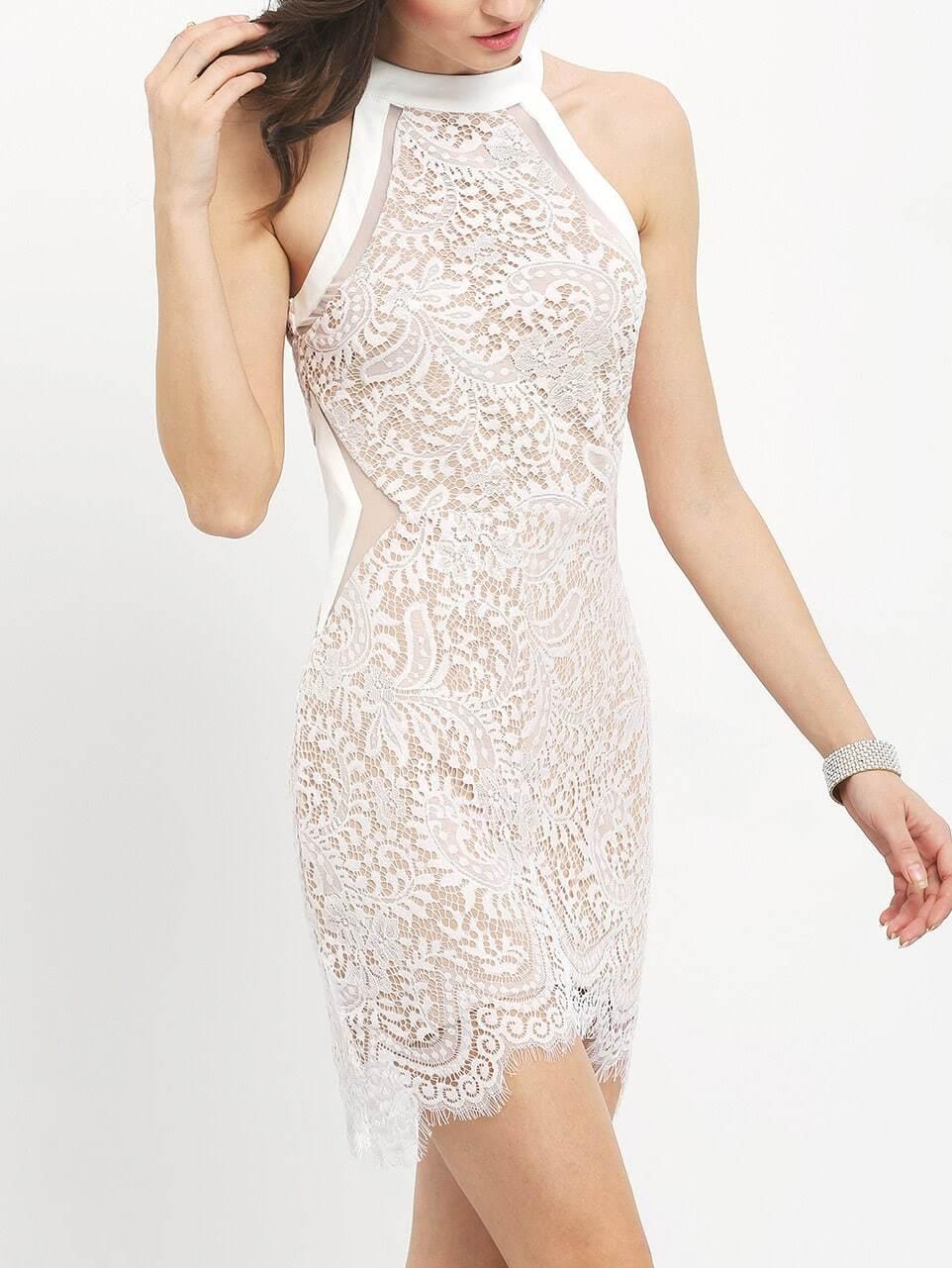 White Crew Neck Lace Bodycon Dress -SheIn(Sheinside)
