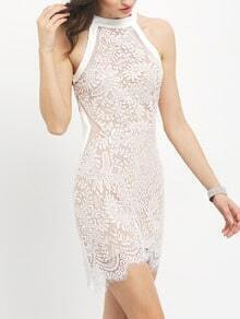 White Crew Neck Lace Bodycon Dress