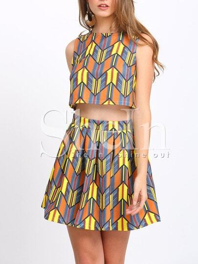 Multicolor Print Crop Tank Top With Skirt