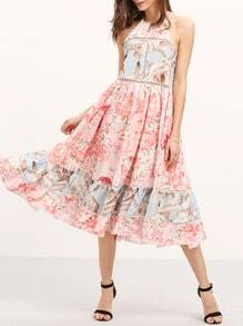 Multicolor Print Ruffle Hem Flare Midi Dress