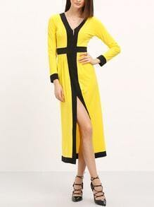 Yellow Long Sleeve Split Midi Dress