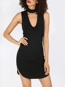 Black Sleeveless Chocker Neck Dip Hem Dress