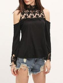 Insert Crochet High Neck Open Shoulder Blouse