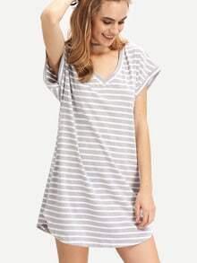 White Grey Stripe V Neck T-shirt