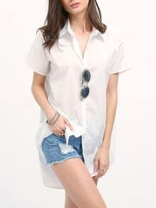 White Mock Neck Side Slit Tshirt Dress