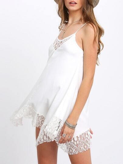 White Spaghetti Strap Lace Shift Dress