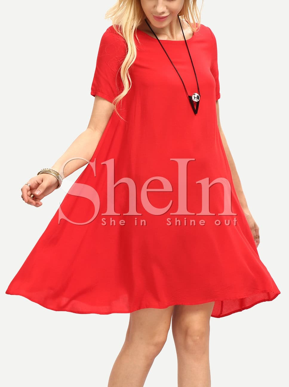 Red Round Neck Short Sleeve Loose Dress -SheIn(Sheinside)