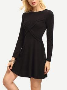 Black Round Neck A Line Dress
