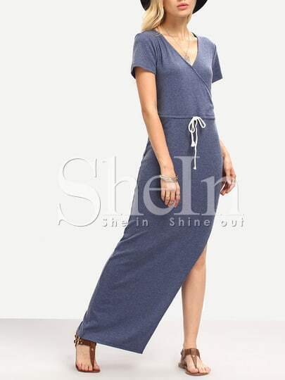 Blue Beachy Short Sleeve Split Maxi Dress