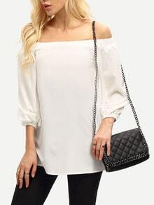 White Bell Sleeve Off The Shoulder Blouse