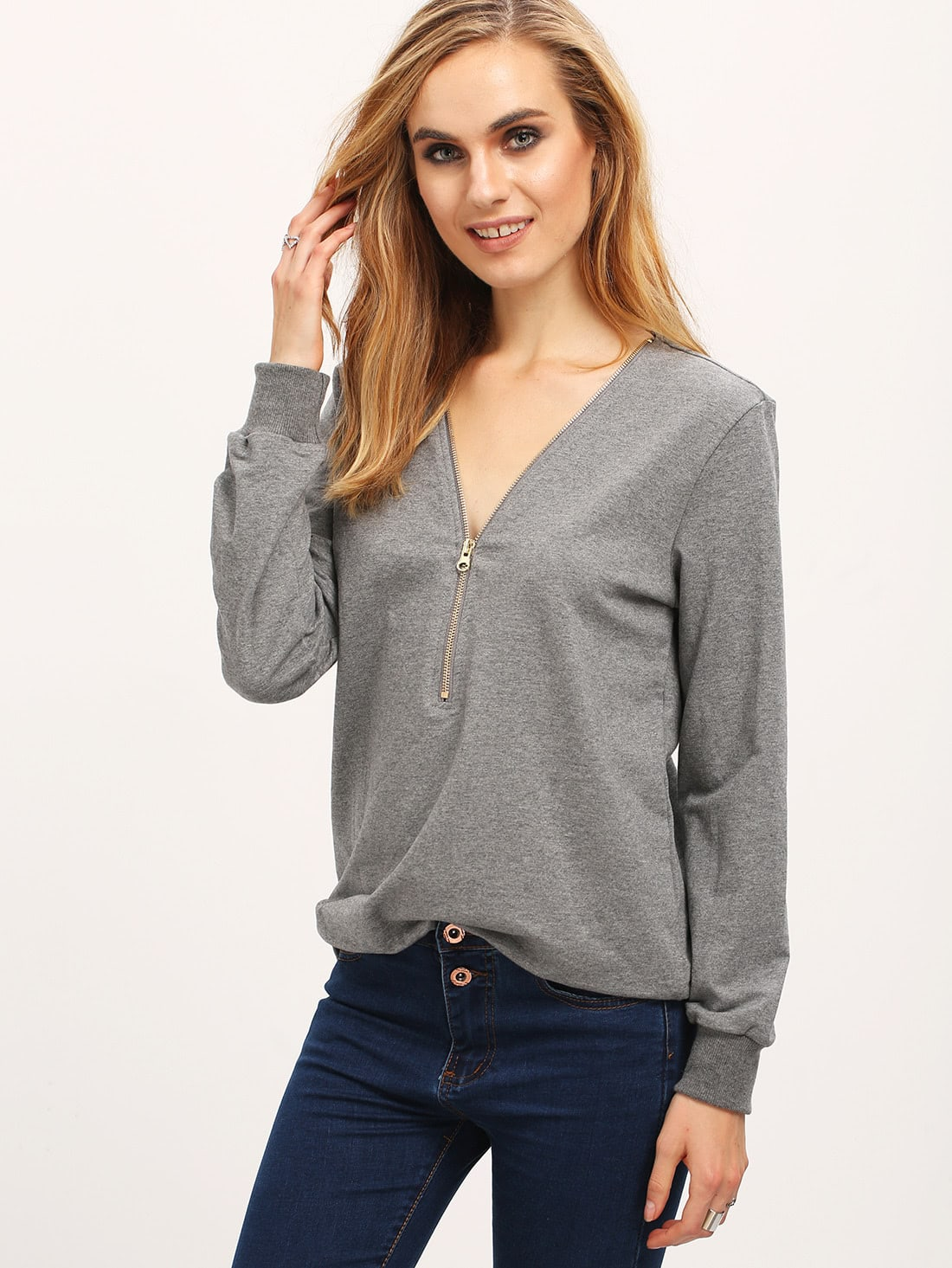Grey Zipper V Neck T-Shirt tee160104714
