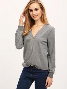 Camiseta cremallera cuello V -gris