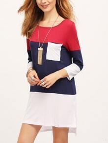 White Color Block Pockets T-Shirt