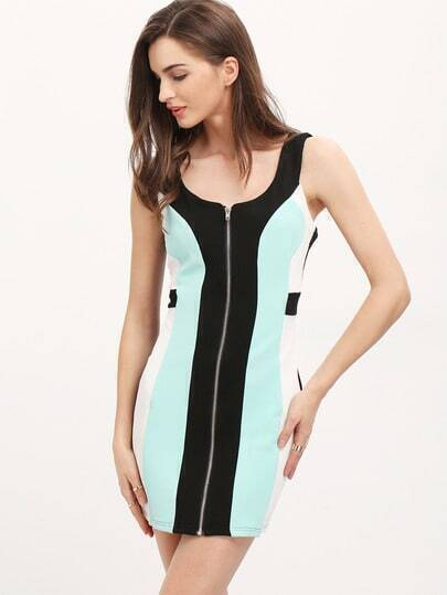 Navy Sleeveless Zipper Color Block Dress
