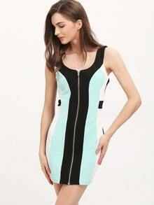 Navy Sleeveless Zipper Color Block Dress