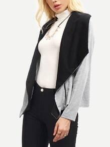 Grey Long Sleeve Asymmetric Coat