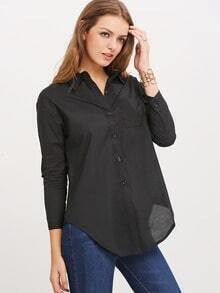 Black Lapel Long Sleeve Blouse
