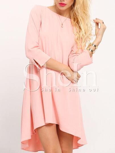 Pink Round Neck High Low Dress